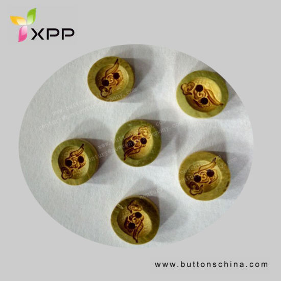 11.25mm Bamboo Button with Especial Laser Drawing Natural Button