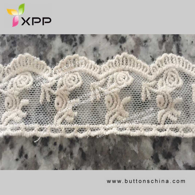 Okea Certification Lovely New Arrival Schiffli Embroidery Designs Lace Withe off