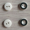 2h 11.5mm White with Black Two Color Plastic Button