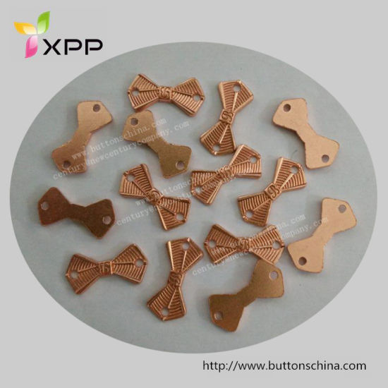 Rose Gold Metal Badge Bow Shape for Garment
